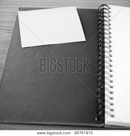 Open Notebook With Post It Black And White Color Tone Style