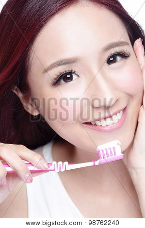 Smile Woman Brush Teeth