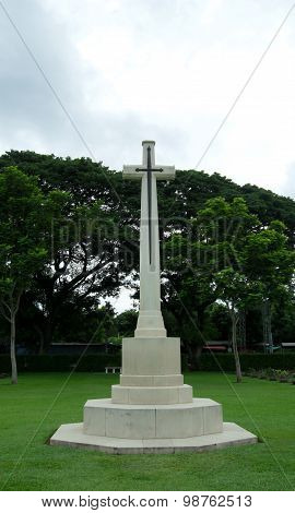 blade cross in cemetery to memorial of world war 2 in Thailand