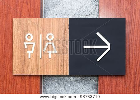 Unisex Restroom Or Toilet And Arrow Sign On  Wall Style Boutique