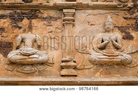 Ancient Buddha image statues at Wat Jet Yod, Chiang Mai, Thailand