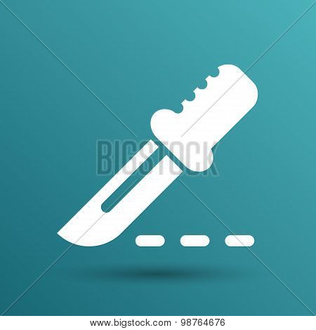 Scalpel knife surgery Icon on Square Button
