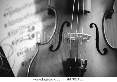 violin with sheet music black and white color tone style