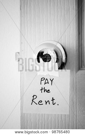 Sticky Note Write A Message Pay The Rent Black And White Color Tone Style