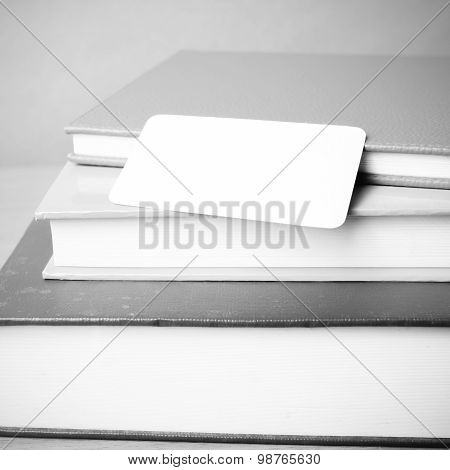 Stack Of Book And Business Card Black And White Color Tone Style