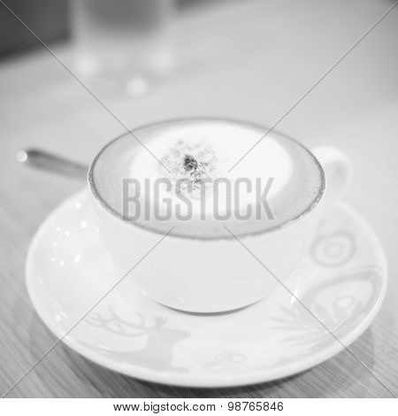 Hot Cappuccino Black And White Color Tone Style