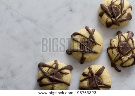 Maple Cookies with Chocolate on Marble Top
