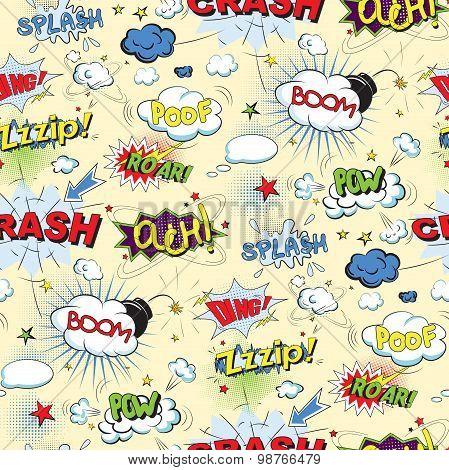 Comic black speech bubbles in pop art style seamless pattern