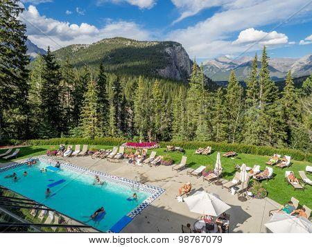 Outdoor pool at the Banff Springs Hotel