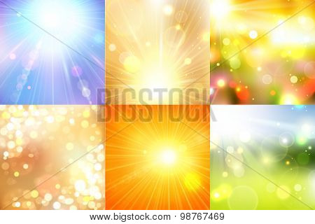 Set of summer shining magical background with blurred bokeh lights and place for text.