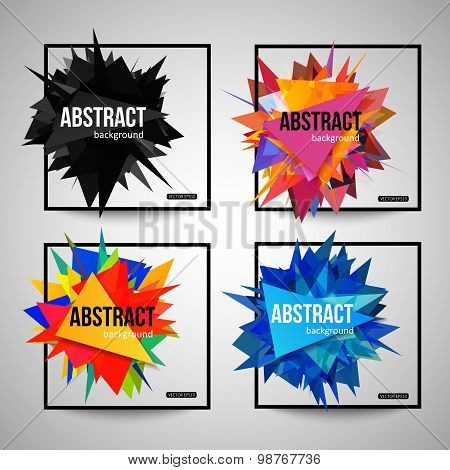 Set of colorful isolated template poster with triangular shapes, black frame and place for text.  Cr