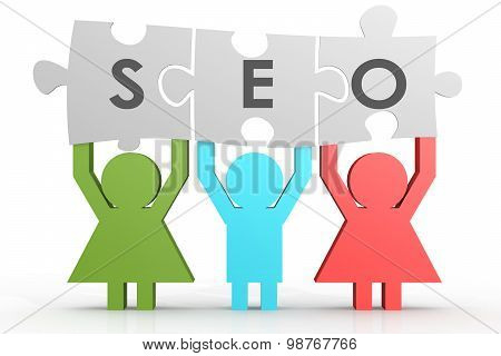 Seo - Search Engine Optimization Puzzle In A Line