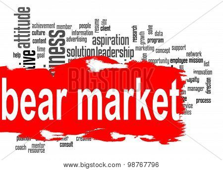 Bear Market Word Cloud With Red Banner
