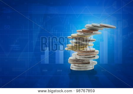 Stack Of Coins On Financial Chart And Graph, Investment Risk Concept