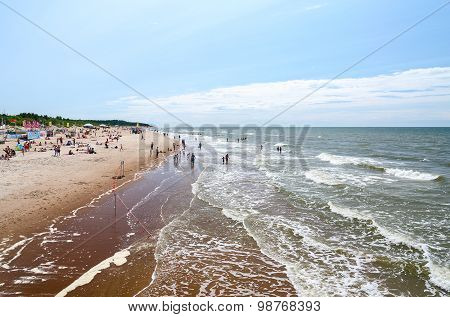 People Are Relaxing On Beach In Palanga, Lithuania