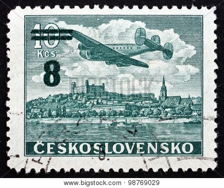 Postage Stamp Czechoslovakia 1946 Plane Over Bratislava Castle