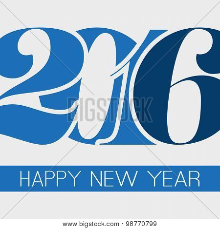 Happy New Year Greeting Card, Creative Design Template - 2016