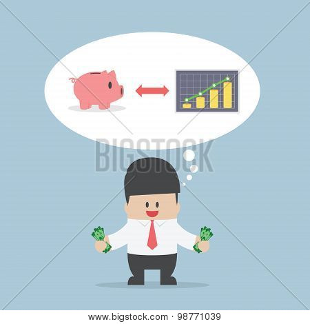 Businessman Want To Manage His Money For Saving And Investing