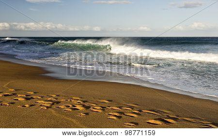 Windy Surf At Bells Beach