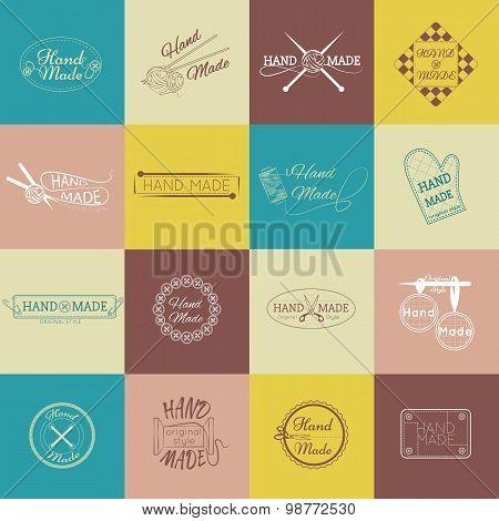 Set of hand made labels, badges and logos for design over blackboard.