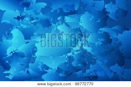 Colorful Oil Paint Stains. Blob Watercolor Painted. Blue Brush. Vector Abstract Horizontal Texture.