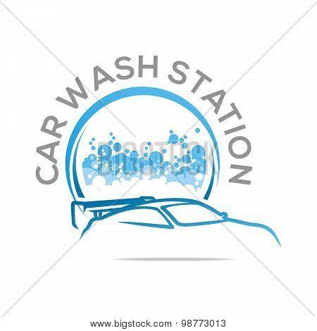 Logo bubble brush car wash icon vector