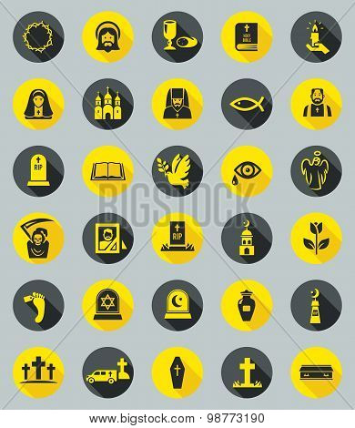 Funeral icons, flat design vector