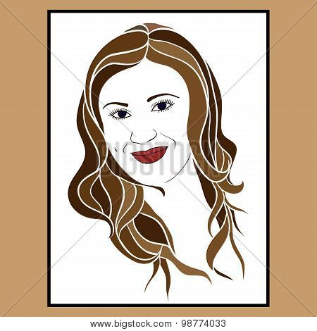 The Girl's Face Brunette With A Tender Smile.