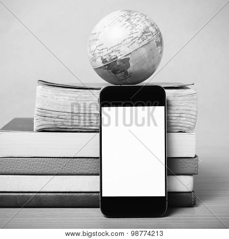 Book And Earth Ball With Smart Phone Black And White Color Tone Style