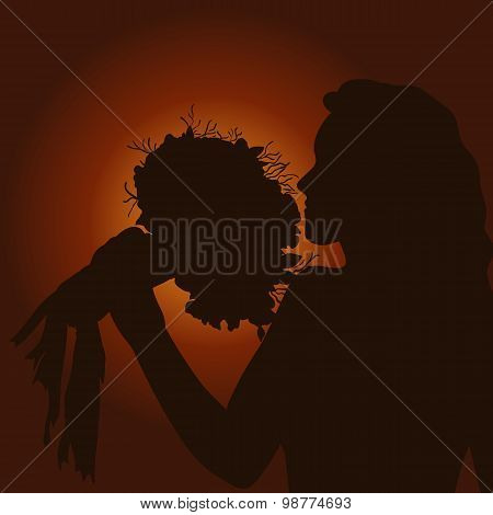 Silhouette Of A Girl With Bouquet Of Flowers