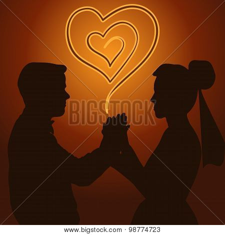 Silhouette Of A Married Couple
