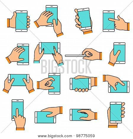 Hand Gesture On The Touch Screen. Hands Holding Smartphone Or Other Digital Devices. Line Icons Set