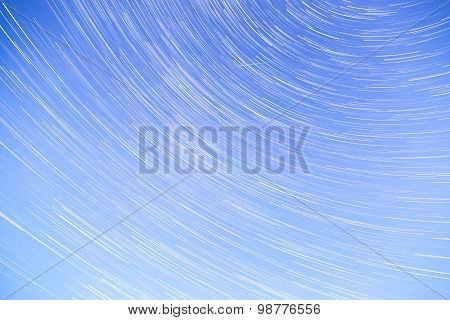 Star Trails With Blue Sky