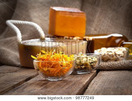Herbal Calendula In The Glass Bowl, On Wooden Background