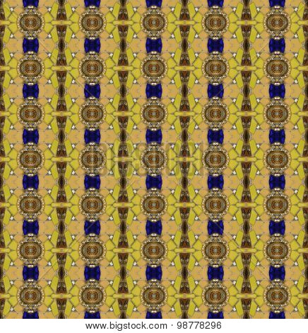 Seamless Pattern Made From Asian Traditional Bowl Lid And Yellow Stone