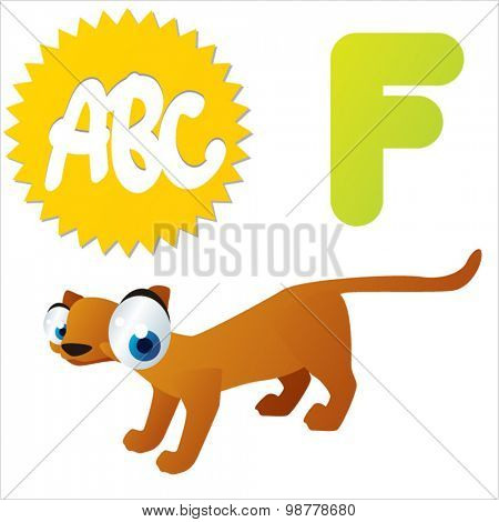 Funny vector cute animals ABC: F is for Fossa