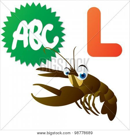 Funny cartoon animals ABC: L is for Lobster