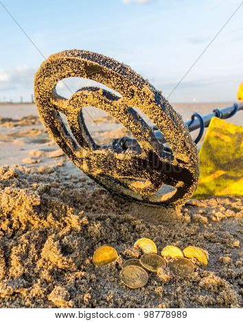 Metal detecting on a beach