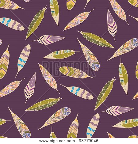 Feather pattern seamless in vector