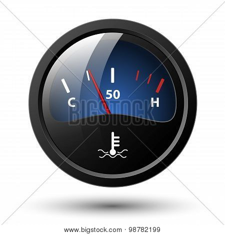 Motor Temperature Gauge Icon. Vector Illustration