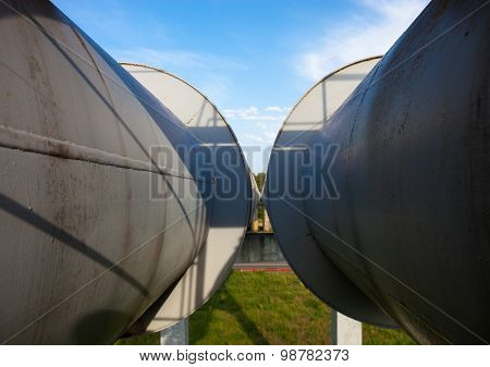 Close Up Of Two Parallel Pipelines