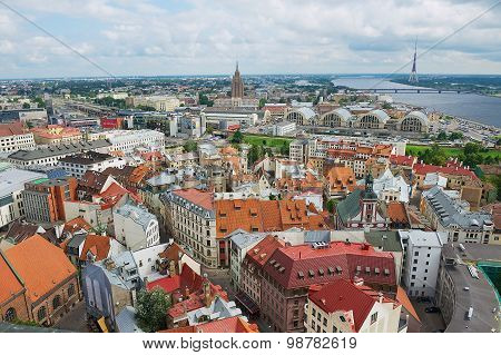View to the historical buildings of Riga city, Latvia.