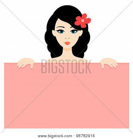 Portrait Of The Cartoon Brunette Girl Holding The Board