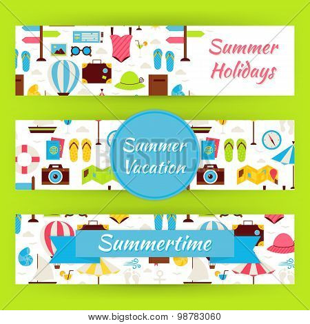 Summer Vacation And Summer Time Vector Template Banners Set In Modern Flat Style