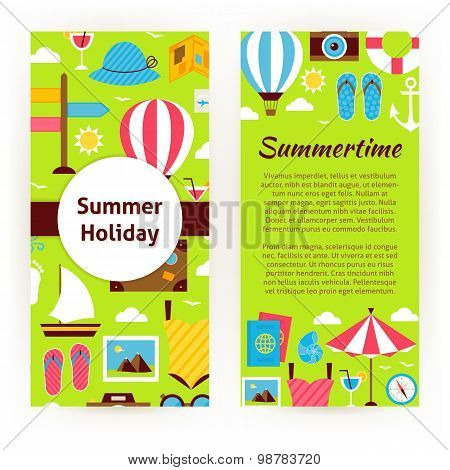 Vector Flyer Template Of Flat Design Summer Holiday Concept Objects And Elements