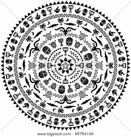 Round Ornament With Animals, Vases, Drums