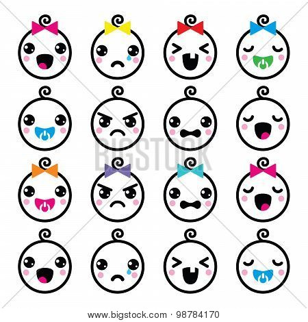 Kawaii baby boy and girl cute faces icons set