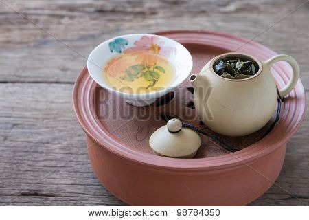 Chinese tea set on wooden Closeup.