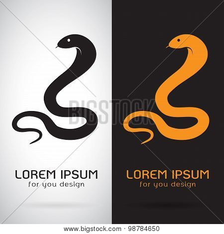 Vector Image Of An Snake On White Background And Black Background, Logo, Symbol
