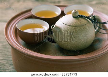 Chinese tea set on wooden Closeup, Chinese tea